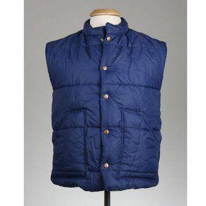 Vtg 70s Navy West 45 CAL Buttons Puffy Ski Vest